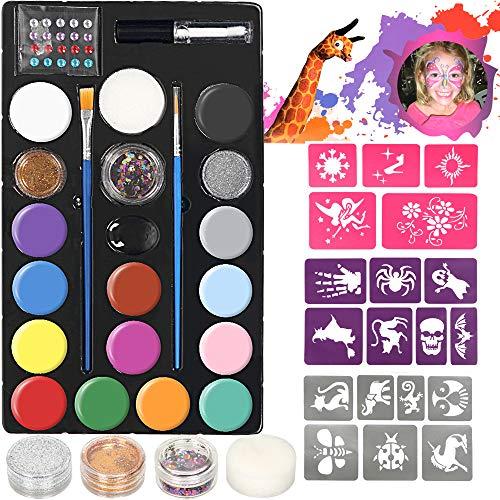 lecou Kinderschminken Set Schminkfarben 14 Farben Schminkset Kinder, 3 Glitzer und 2 Pinsel ,...