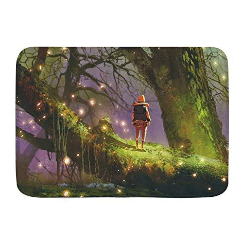 AoLismini Bath Mat Rug,Girl Outdoor Adventure Fantasy Night Decor Backpack Woman Standing Old Tree Trunk Firefly Floating Like Dream,Plush Bathroom Decor Mats with Non Slip Backing