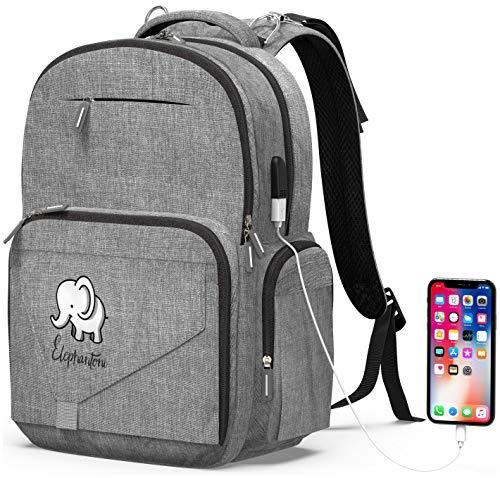 Wickeltasche Rucksack Babytasche – großer Wickelrucksack für Mama Papa, Unisex Baby-Rucksack mit integriertem USB-Ladeanschluss, Kinderwagengurten und isolierten Taschen, multifunktional, für Reisen