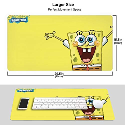 Large Mouse Pad Spongebob Gaming Mousepad for Computer PC and Keyboard Laptop-29.5x15.7x0.1IN