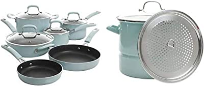Kenmore Andover Cookware and Steamer Combo (Glacier Blue)