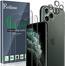 Ferilinso [4 Pack] Screen Protector for iPhone 11 Pro Max with 2 Pack Camera Lens Protector, 2 Pack Tempered Glass Film for iPhone 11 Pro Max 6.5 Inch