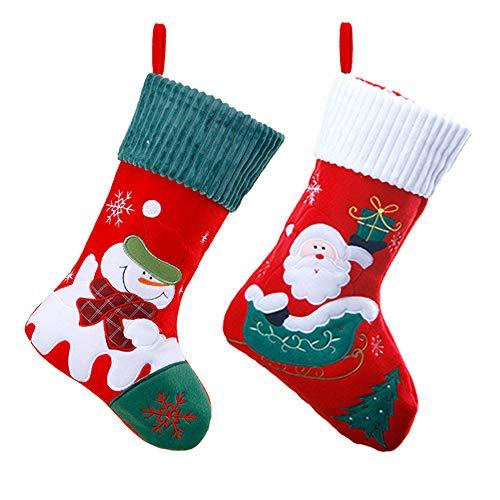 JOJYO 2er Set Filz-Nikolausstiefel zum Befüllen und Aufhängen - Nikolaus-Strumpf - rot/weiß/grün mit weihnachtlicher Stickerei