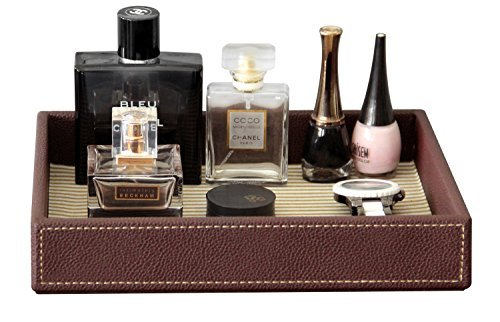 PU Leather Valet Tray Organizer, Makeup Catchall Tray, Cosmetic Holder Desktop Organizer for Home and Office, Brown, 10.2 x 8.4 x 1.8 inches