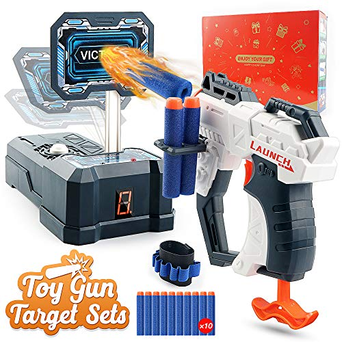 HOPOCO Toy Foam Blasters Gun and Digital Shooting Target for Nerf, Auto Reset Electronic Scoring Toys Sets with 10 Pcs Refill Darts & 1 Hand Wrist Band for Nerf Guns Toys, Ideal Gift Toy for Kids