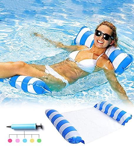 beseloa Aufblasbare Wasserhängematte, 4 in 1 Luftmatratze Pool Schwimmbett mit Netz, Beach Luftmatratze mit Minipumpe, Schwimmmatratze für Erwachsene Kinder