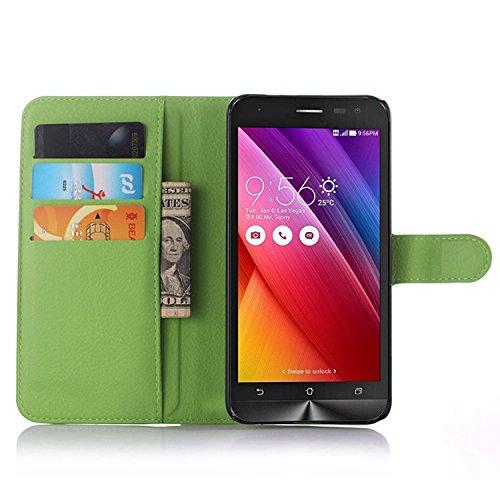 Ycloud Tasche für Asus ZenFone 2 Laser ZE500KL (5zoll) Hülle, PU Ledertasche Flip Cover Wallet Hülle Handyhülle mit Stand Function Credit Card Slots Bookstyle Purse Design grün