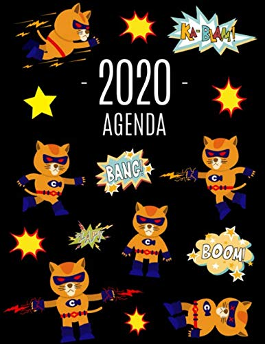 Gato Superhéroe Agenda 2020: Planificador Diaria | Ideal Para la Escuela, el Estudio y la Oficina | Enero a Diciembre 2020