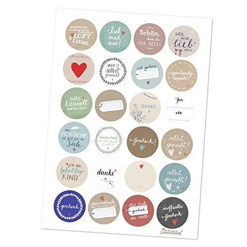 24 gemischte Geschenkaufkleber - unser Sticker Best-of! Set, MATTE Papieraufkleber, rund, 40 mm Durchmesser, schöne Etiketten zum Geschenke verpacken, für Weihnachtsgeschenke, Geburtstagsgeschenke