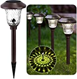 BEAU JARDIN 8 Pack Solar Lights Bright Pathway Outdoor Garden Stake Glass Stainless Steel Waterproof Auto On/Off White Wireless Sun Powered Landscape Lighting for Yard Patio Walkway Spike Bronze