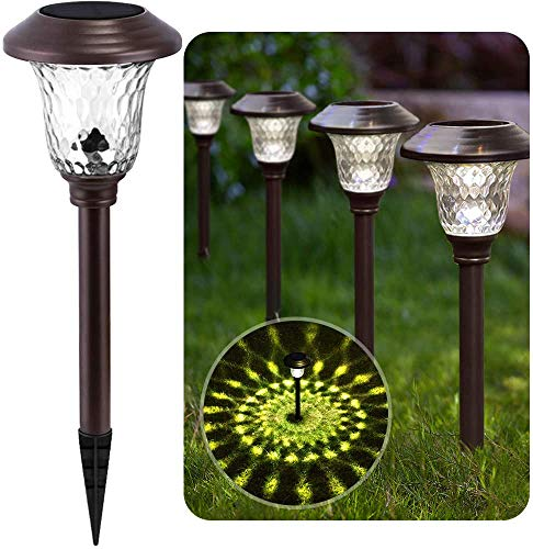 Solar Lights Bright Pathway Outdoor Garden Stake Glass Stainless Steel Waterproof Auto On/off White Wireless Sun Powered Landscape Lighting for Yard Patio Walkway In-Ground Spike Bronze Brown 8 Pack
