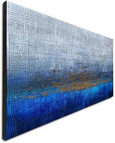 Handmade Textured Abstract Wall Art Blue Modern Oil Paintings on Canvas for Living Room Home product image