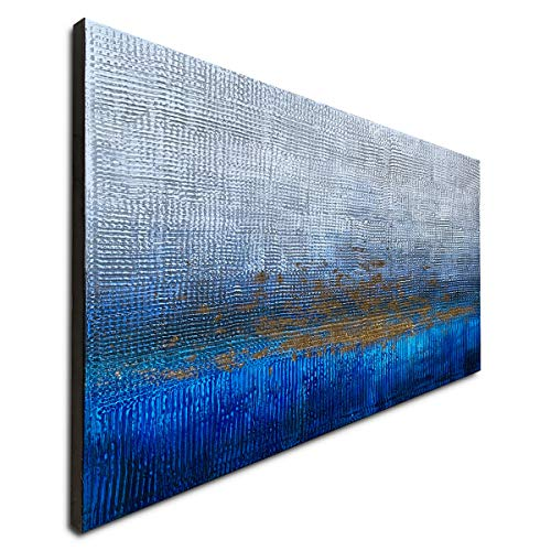 Handmade Textured Abstract Wall Art Blue Modern Oil Paintings on Canvas for Living Room Home Decoration