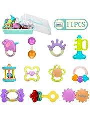 Homejoyi 赤ちゃん 歯がためおもちゃ ガラガラ ラトル ハンドラトル 11PCS ベビー・赤ちゃんのおもちゃ 出産お祝い おしゃぶり 新生児 プレゼント