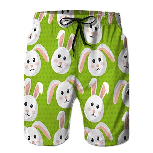 Mens Surf Fashion Swim Trunk Watershort Pants Cute Bunny Animal Furry Cartoon Pattern