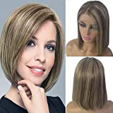 Ombre Lace Front Short Bob Wig Brazilian Human Hair Wig for White Women Pre Plucked Medium Brown Roots Highlighted #4 Medium Brown with #27 Strawberry Blonde 16 Inch