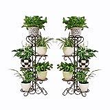 Deux fer européen solide bois fleur stand pas cher à vendre en fer forgé multicouche sol balcon fleur pot rack salon intérieur orchidée vert fleur stand (Couleur : Brown)