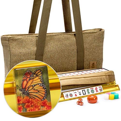 Yellow Mountain Imports American Mahjong Set - Papillon - with 166 Acrylic Tiles, Olive Green Soft Case, All-in-One Racks with Pushers, Dice, Wind Indicator & Wright Patterson Scoring Coins