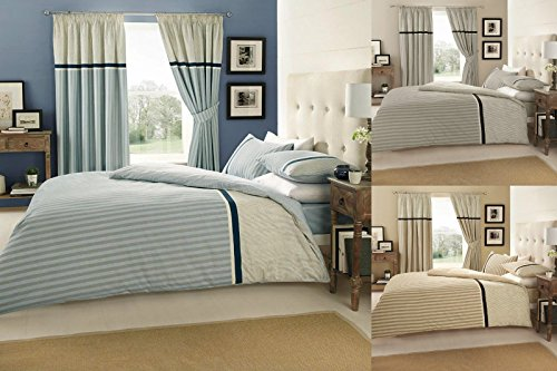 Modern VALERIA Duvet Quilt Cover Bedding Set with Pillowcases , All sizes (Double, Blue)