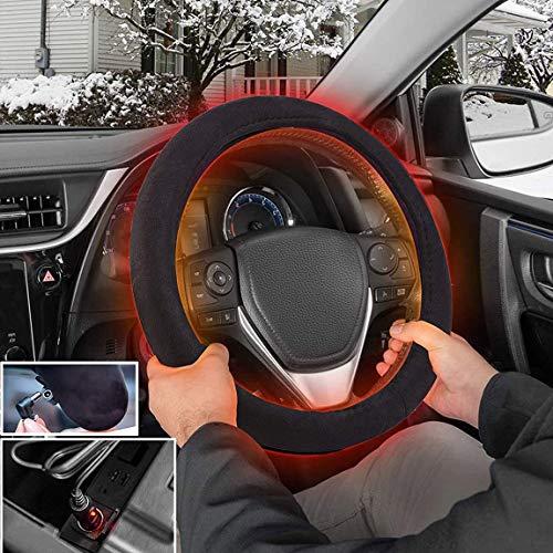 ZHEJZHQ Car Steering Wheel 12V Heated Cover - Black Premium...