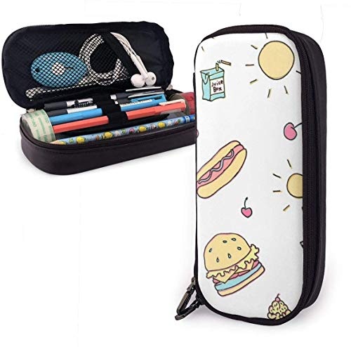 Cute Summer Food PU Leather Pouch Storage Bags Portable Student Pencil Office Stationery Bag Zipper Wallets Makeup Multi-function Bag