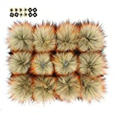 Fluffy Faux Raccoon Fur Pompoms with Press Button for Knitting Hat Garment Accessories 6 Inches Pack of 12 (Natural with Orange Tips)
