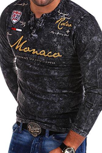 MT Styles Vintage Longsleeve VT-Monaco T-Shirt R-7295 [Schwarz, XL]