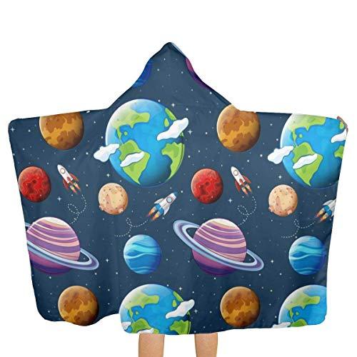 ZHSL Planetas y espacio Toalla de baño con capucha para niños/Toalla de playa/piscina 32x51.5 pulgadas Material blando absorbe y seca rápidamente Toalla de playa con capucha