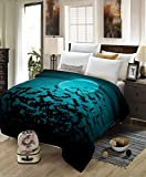 Bat Blanket,All Season Lightweight Plush and Warm Home Cozy Portable Fuzzy Throw Blankets for Couch Bed Sofa,Halloween Moon and Bats Horror Frame Abstrac,40'x50'