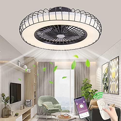 Ventilador de techo silencioso LED con Luz Lámpara de Ventilador Modern Invisible 72W luz de Ventilador teledirigido regulable con APP 3 velocidades para dormitorio comedor Iluminación