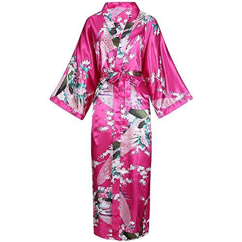 DPKDBN Damesjas, lange kimon robe prachtige print bloem badjas jurk Intime Dessous casual satijn zachte bruiloft robe pyjama's