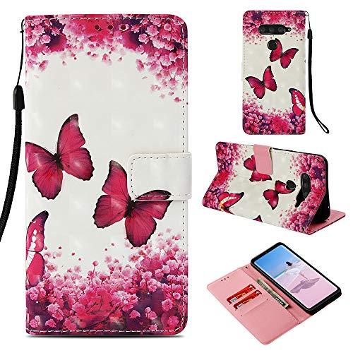 DodoBuy LG V50 ThinQ Hülle 3D Flip PU Leder Schutzhülle Stand Handy Tasche Brieftasche Wallet Hülle Cover für LG V50 ThinQ - Schmetterling Rose