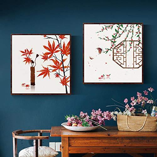 Originele Chinese afbeeldingen vlag esdoorn Tempel brug canvas schilderij muurkunst voor woonkamer keuken elegante wooncultuur vierkant HD-60x60cm X2P No Frame
