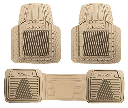 DieHard 99826 All Weather, All Season, All Around Protection Tan Rubber Universal Customizable Floor Mat 3 Piece Set