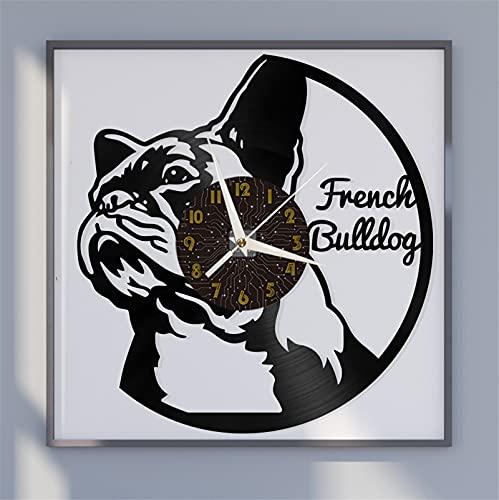 Tema bulldog francese Vinile Record Wall Clock, Orologio da parete per cucina Casa Soggiorno Camera da letto Scuola Arredamento artistico unico, Idea originale per l'arredamento della casa