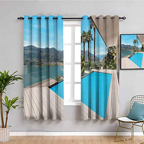House Decor Collection Blackout Curtain Modern House Beautiful Patio with Pool Outdoor Wooden Deck Timber Residence Photo Print Privacy protection Aqua Green W72 x L72 Inch