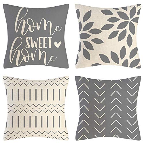 Eneston Grey Pillow Covers 18x18 Set of 4 Home Decorative Throw Pillow Covers Outdoor Linen Couch Throw Pillow Case for Sofa Chair Bed Living Room Décor