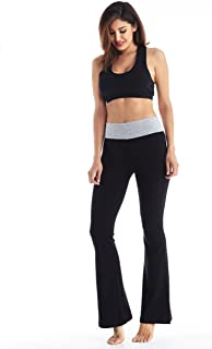 Flare Yoga Pants for Women with Foldover Waist - Premium 250gsm Cotton Spandex