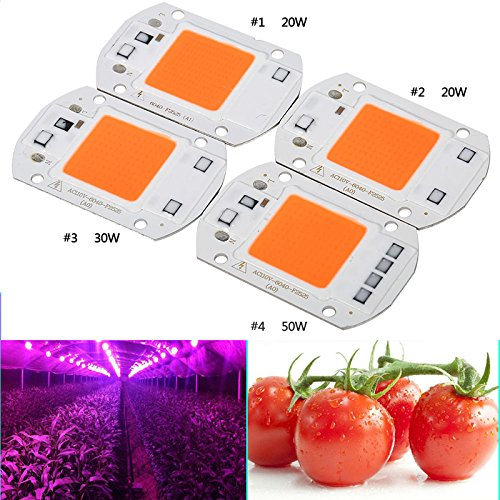 Rabusion New for 110V/220V 20W/30W/50W Full Spectrum LED COB Chip Grow Light Plant Growing Lamp Bulb 220V 20W