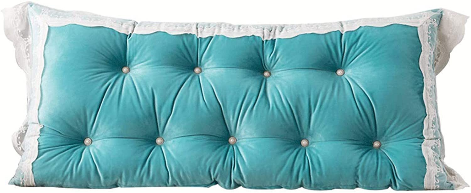 Pillow Cushion Headboard Cushion - N4f6J39 Lace Waist Bedside Large Back Soft Case Home Bed Back Pad bluee (Size   120CM)