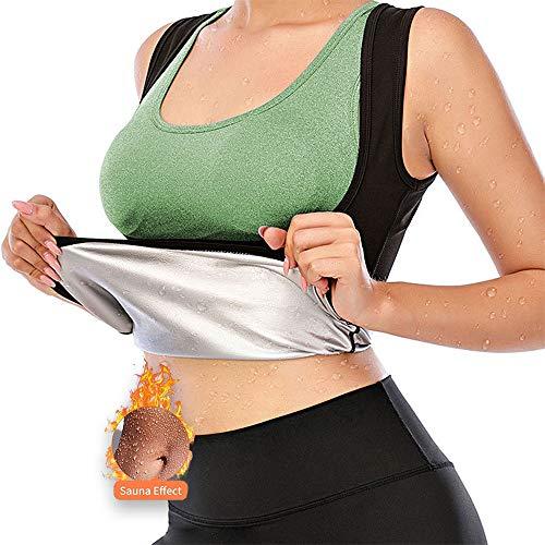 Gilet de Sudation pour Femme, Débardeur Minceur Sauna Sport Gaine Amincissante Débardeur Minceur Ventre Plat Fitness Waist Trainer (Black, 2XL-3XL)
