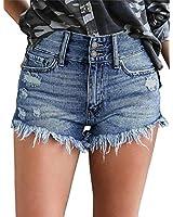 Cut Off Jean Shorts for Women Boyfriend Distressed Denim Shorts Mid Rise Blue Summer Hot Short M