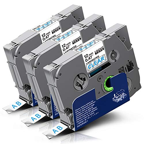 Labelwell P-Touch Tape 12mm TZe-133 12mm x 8m Blue on Clear 3 Pack Compatible for Brother TZe133 TZ-133 Laminated Label Cassette for Brother PT-1000 PT-H110 PT-H101C PT-H105 PT-2030VP PT-P750W PT-E100