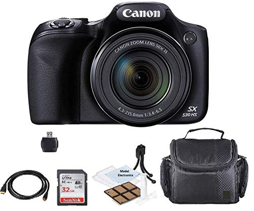 Canon PowerShot SX530 HS Wi-Fi Digital Camera with 32GB Card + Case + HDMI+USB+Kit