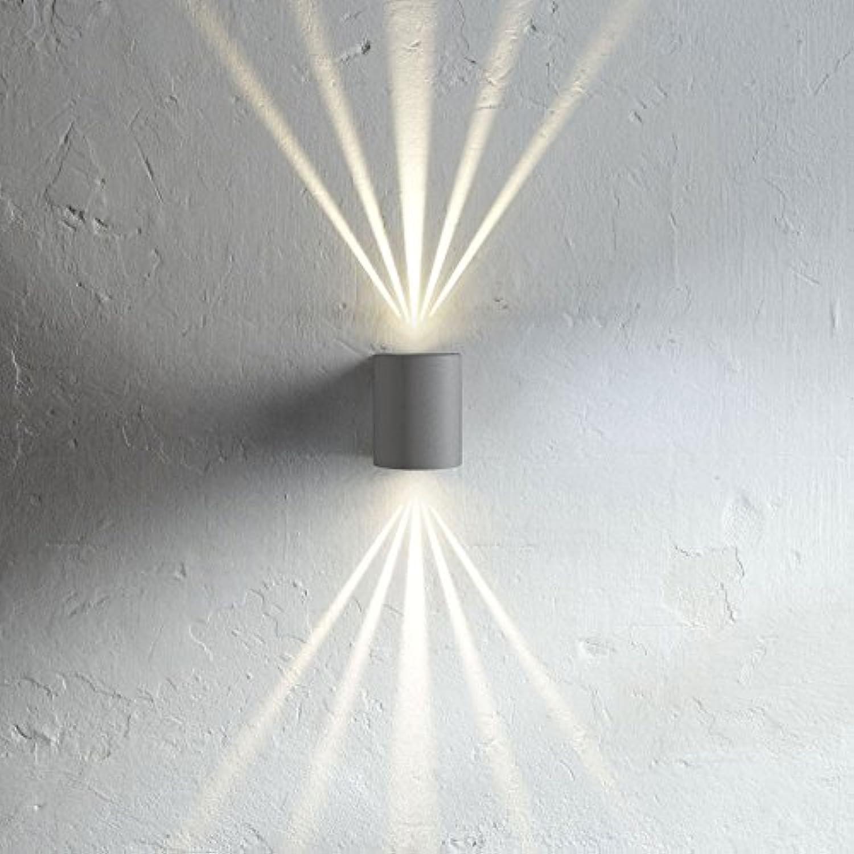 LICHT-TREND LED-Wandlampe IP44 mit 8 Lichtfilter, 2x 3W, Grau 1018002