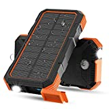 Solar Charger, X-DRAGON 24000mAh 18W Fast Charging Solar Power Bank External Battery Pack with Dual Input(USB C & Micro), Flashlight, Compass for iPhone, iPad, Cell Phones, Outdoors, Camping