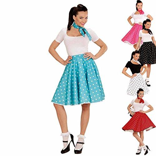 Amakando Rock'n'Roll Outfit Tellerrock mit Halstuch türkis-weiß Petticoat mit Polka Dots Gepunktetes 50er Outfit Swing Party Outfit Fasnachts Kostüm Zubehör