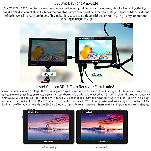 Feelworld LUT7 7 Inch DSLR Camera Field Monitor Video Monitor 3D LUT Touchscreen FHD Resolution with 4K HDMI Input Output Waveform Vectorscope Histogram