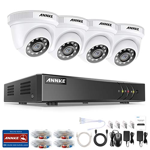 ANNKE Kit Sorveglianza 3MP DVR TVI 4 Canali 4 Dom Camera 1080P HD TVI Telecamera di Sicurezza CCTV 4+1 canali 1080P H.265+ DVR e 4×1080P FHD Telecamere Senza HDD