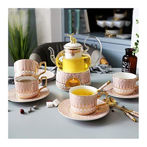 Keramische Afternoon Thee Bloem Cup Theeset Thuis Bloem Theepot Set Fruit Glazen Pot Met Filter Kaars Verwarming XINYALAMP